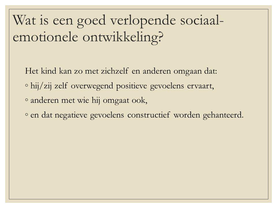 Wat is een goed verlopende sociaal- emotionele ontwikkeling.