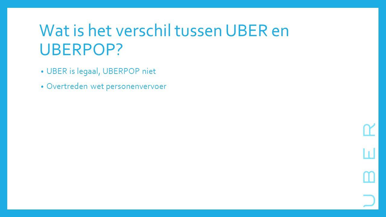 Wat is het verschil tussen UBER en UBERPOP.