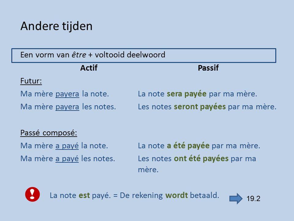 Andere tijden Een vorm van être + voltooid deelwoord ActifPassif Futur: Ma mère payera la note.