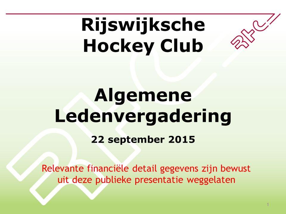 Rijswijksche Hockey Club Algemene Ledenvergadering 22 september 2015 1 Relevante financiële detail gegevens zijn bewust uit deze publieke presentatie weggelaten