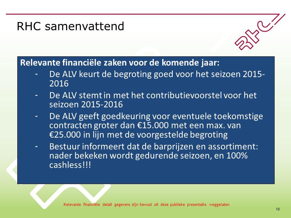 10 RHC samenvattend Relevante financiële zaken voor de komende jaar: - De ALV keurt de begroting goed voor het seizoen 2015- 2016 - De ALV stemt in met het contributievoorstel voor het seizoen 2015-2016 - De ALV geeft goedkeuring voor eventuele toekomstige contracten groter dan €15.000 met een max.