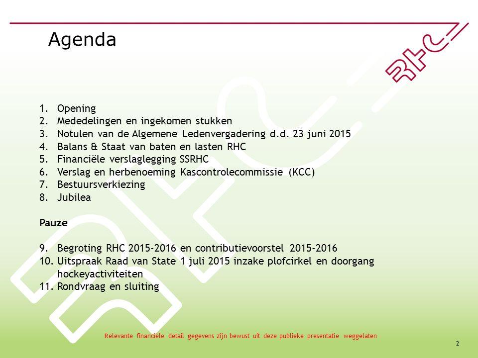 2 Agenda 1.Opening 2.Mededelingen en ingekomen stukken 3.Notulen van de Algemene Ledenvergadering d.d.