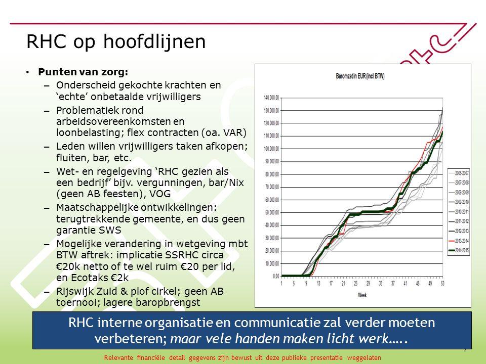 7 RHC op hoofdlijnen Punten van zorg: – Onderscheid gekochte krachten en 'echte' onbetaalde vrijwilligers – Problematiek rond arbeidsovereenkomsten en loonbelasting; flex contracten (oa.
