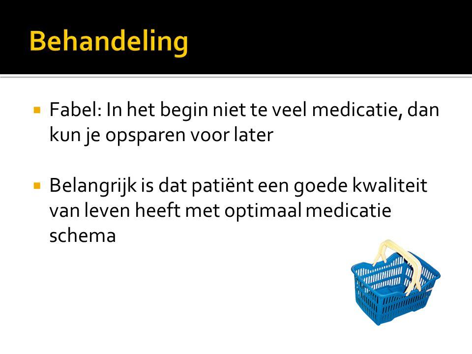  Fabel: In het begin niet te veel medicatie, dan kun je opsparen voor later  Belangrijk is dat patiënt een goede kwaliteit van leven heeft met optim