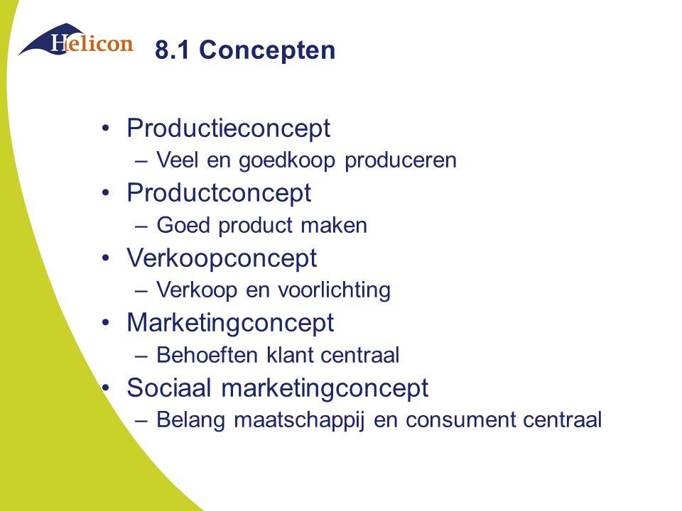 8.1 Concepten Productieconcept –Veel en goedkoop produceren Productconcept –Goed product maken Verkoopconcept –Verkoop en voorlichting Marketingconcep