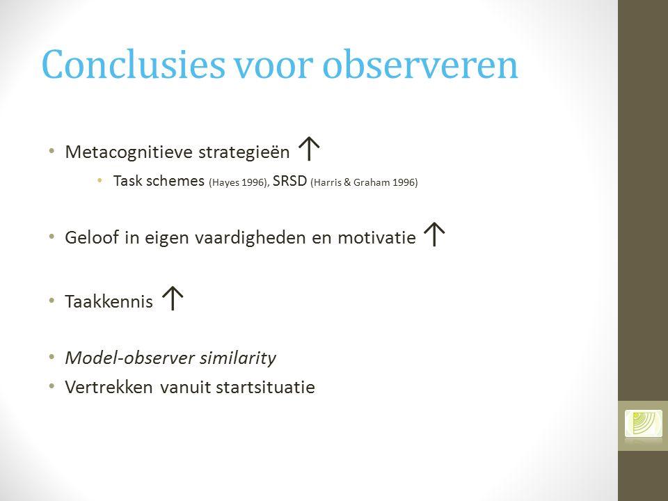 Conclusies voor observeren Metacognitieve strategieën ↑ Task schemes (Hayes 1996), SRSD (Harris & Graham 1996) Geloof in eigen vaardigheden en motivat