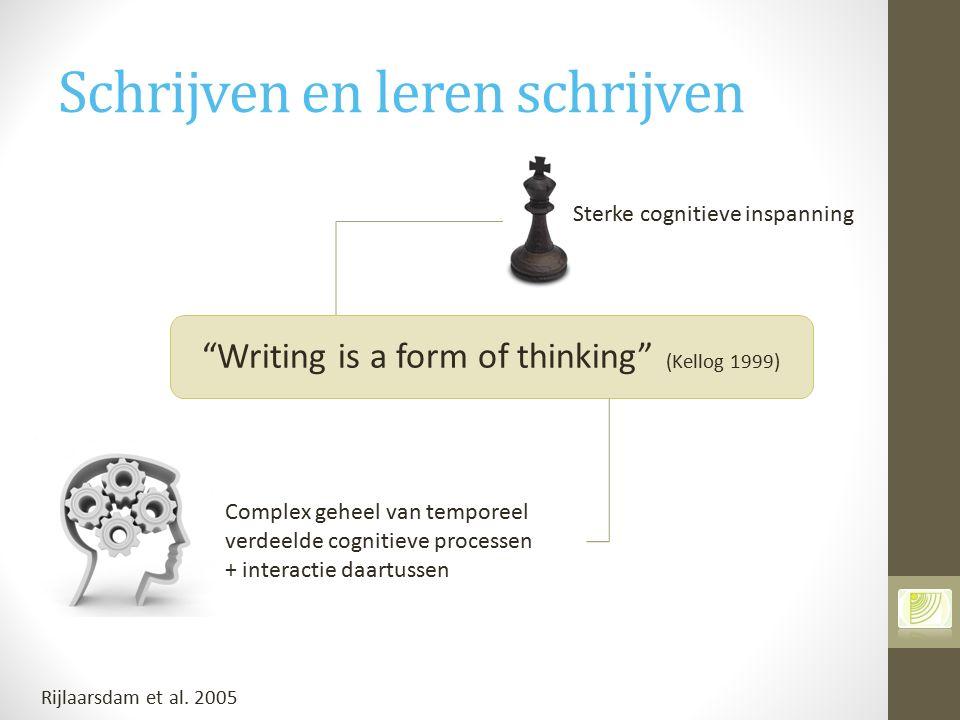"""Schrijven en leren schrijven """"Writing is a form of thinking"""" (Kellog 1999) Sterke cognitieve inspanning Complex geheel van temporeel verdeelde cogniti"""