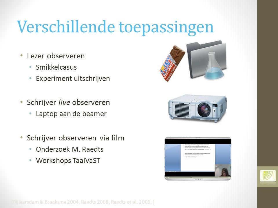 Verschillende toepassingen Lezer observeren Smikkelcasus Experiment uitschrijven Schrijver live observeren Laptop aan de beamer Schrijver observeren v