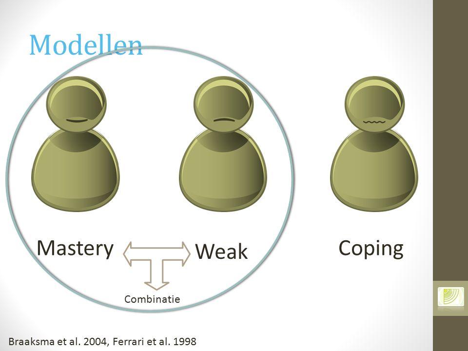 Modellen Mastery Weak Coping Combinatie Braaksma et al. 2004, Ferrari et al. 1998
