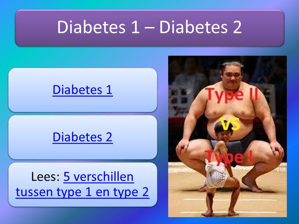 Diabetes 1 – Diabetes 2 Diabetes 1Diabetes 2 Lees: 5 verschillen tussen type 1 en type 25 verschillen tussen type 1 en type 2