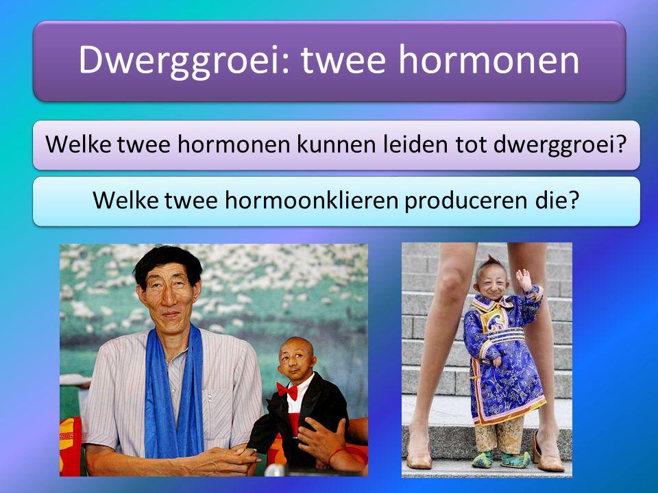 Dwerggroei: twee hormonen Welke twee hormonen kunnen leiden tot dwerggroei?Welke twee hormoonklieren produceren die?
