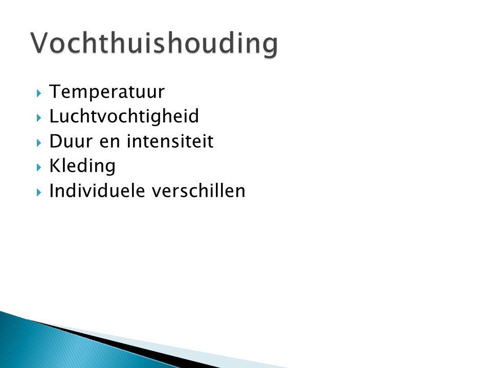  Temperatuur  Luchtvochtigheid  Duur en intensiteit  Kleding  Individuele verschillen