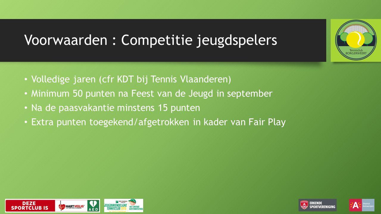 Voorwaarden : Competitie jeugdspelers Volledige jaren (cfr KDT bij Tennis Vlaanderen) Minimum 50 punten na Feest van de Jeugd in september Na de paasvakantie minstens 15 punten Extra punten toegekend/afgetrokken in kader van Fair Play