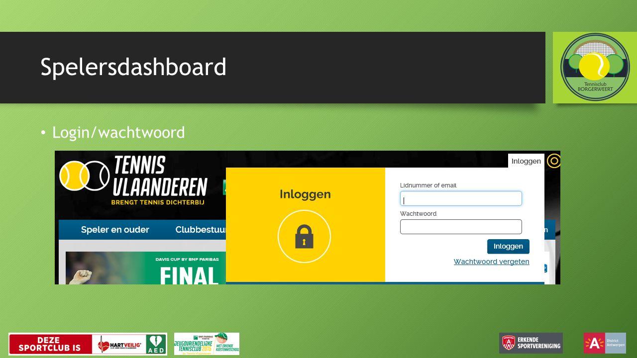 Spelersdashboard Login/wachtwoord