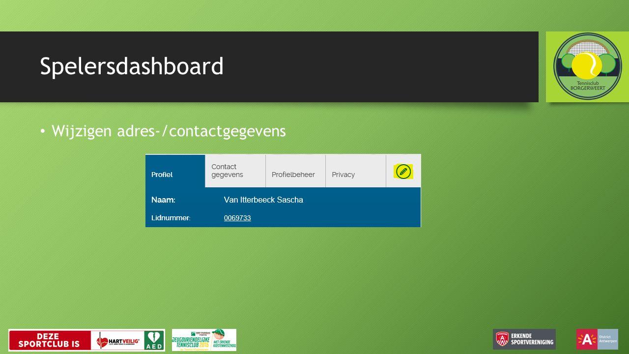 Spelersdashboard Wijzigen adres-/contactgegevens
