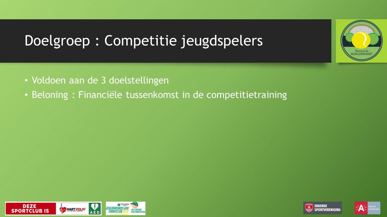 Doelgroep : Competitie jeugdspelers Voldoen aan de 3 doelstellingen Beloning : Financiële tussenkomst in de competitietraining