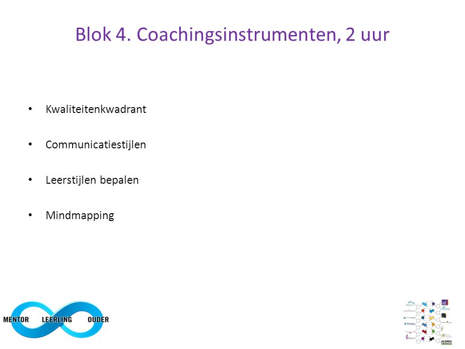 Blok 4 Coachingsinstrumenten: Kwaliteitenkwadrant Voorbeeld 1: Zelfstandig – ongrijpbaar – regels volgen – stuctureren Voorbeeld 2: Zelfstandig – eenzaam – druktes – contact maken