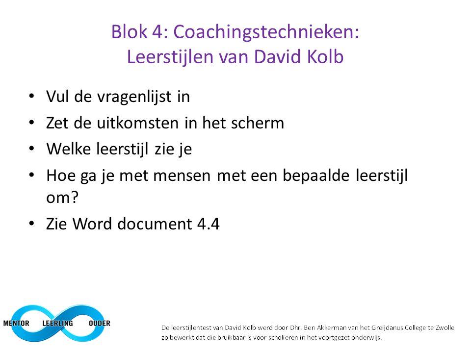 Blok 4: Coachingstechnieken: Leerstijlen van David Kolb Vul de vragenlijst in Zet de uitkomsten in het scherm Welke leerstijl zie je Hoe ga je met men