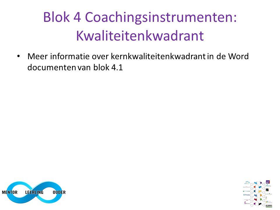 Blok 4 Coachingsinstrumenten: Kwaliteitenkwadrant Meer informatie over kernkwaliteitenkwadrant in de Word documenten van blok 4.1