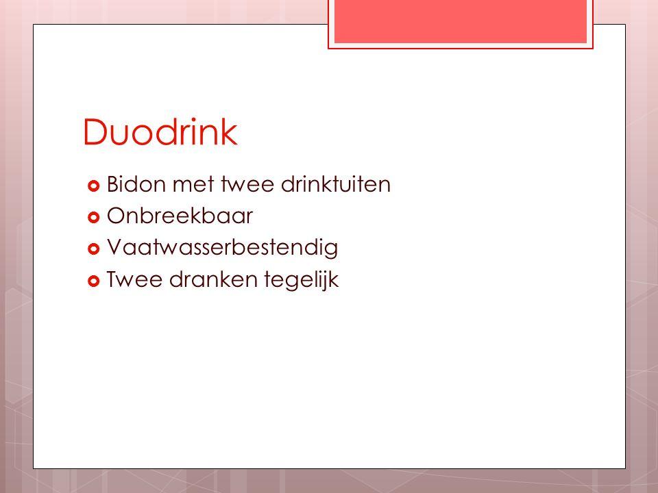 Duodrink  Bidon met twee drinktuiten  Onbreekbaar  Vaatwasserbestendig  Twee dranken tegelijk