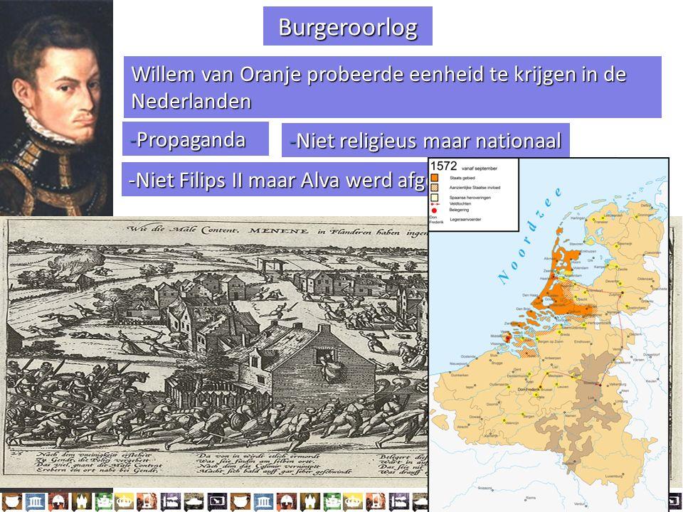 -Propaganda -Niet religieus maar nationaal -Niet Filips II maar Alva werd afgeschilderd als vijand Willem van Oranje probeerde eenheid te krijgen in de Nederlanden §1.2 Het ontstaan van de Republiek (1572-1588) Burgeroorlog HC1 De Republiek (1515-1648) Wilhelmus van Nassouwe ben ik, van Duitsen bloed, den vaderland getrouwe blijf ik tot in den dood.