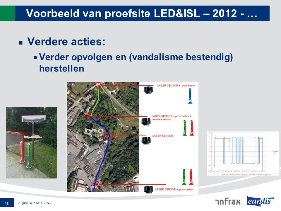 Voorbeeld van proefsite LED&ISL – 2012 - … Verdere acties:  Verder opvolgen en (vandalisme bestendig) herstellen 12 02 juni 2015 KP OV WVL