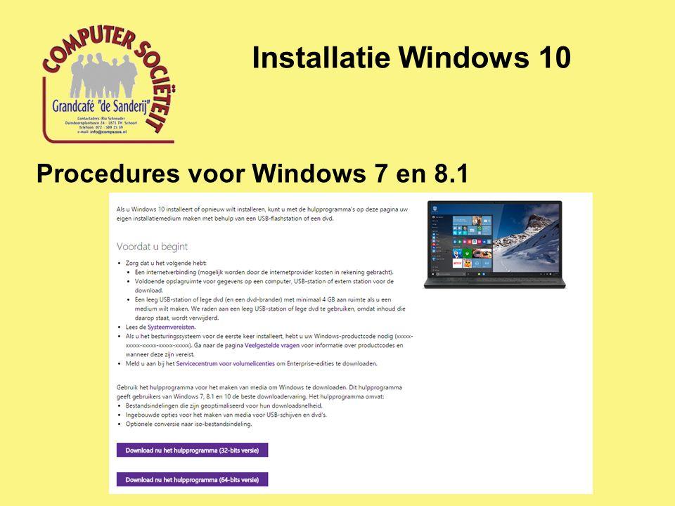 Installatie Windows 10 Procedures voor Windows 7 en 8.1
