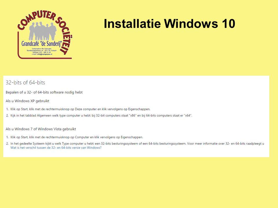Installatie Windows 10