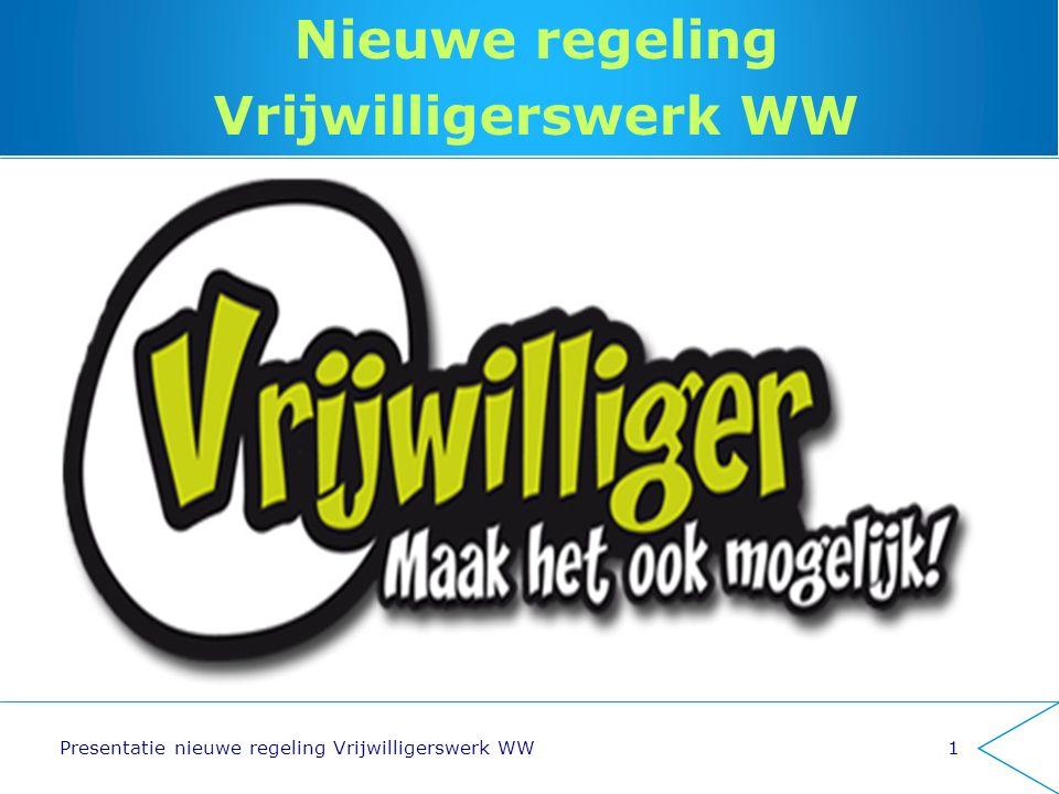 Nieuwe regeling Vrijwilligerswerk WW Presentatie nieuwe regeling Vrijwilligerswerk WW1