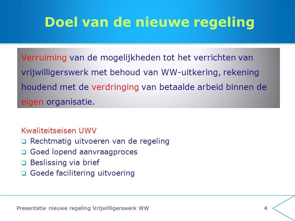 Doel van de nieuwe regeling Verruiming van de mogelijkheden tot het verrichten van vrijwilligerswerk met behoud van WW-uitkering, rekening houdend met