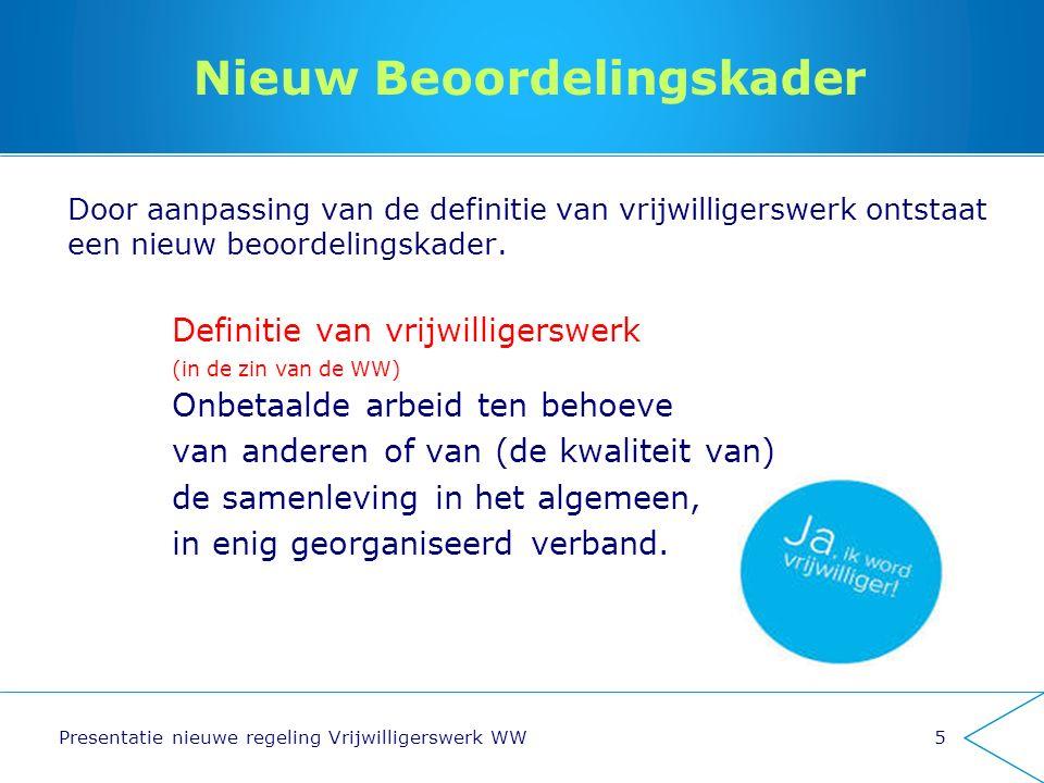 Nieuw Beoordelingskader Door aanpassing van de definitie van vrijwilligerswerk ontstaat een nieuw beoordelingskader. Definitie van vrijwilligerswerk (