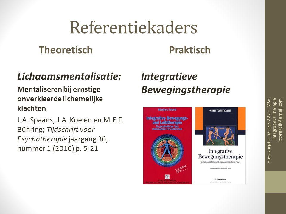 Referentiekaders Theoretisch Lichaamsmentalisatie: Mentaliseren bij ernstige onverklaarde lichamelijke klachten J.A.