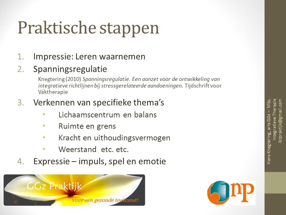 Praktische stappen 1.Impressie: Leren waarnemen 2.Spanningsregulatie Knegtering (2010) Spanningsregulatie.