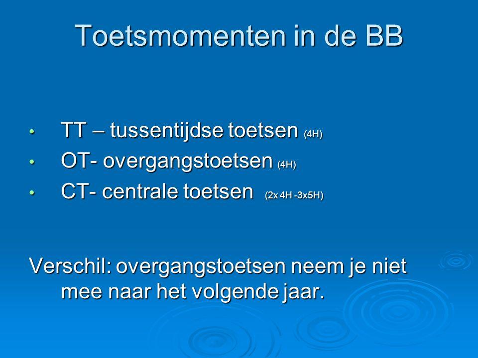 Toetsmomenten in de BB TT – tussentijdse toetsen (4H) TT – tussentijdse toetsen (4H) OT- overgangstoetsen (4H) OT- overgangstoetsen (4H) CT- centrale