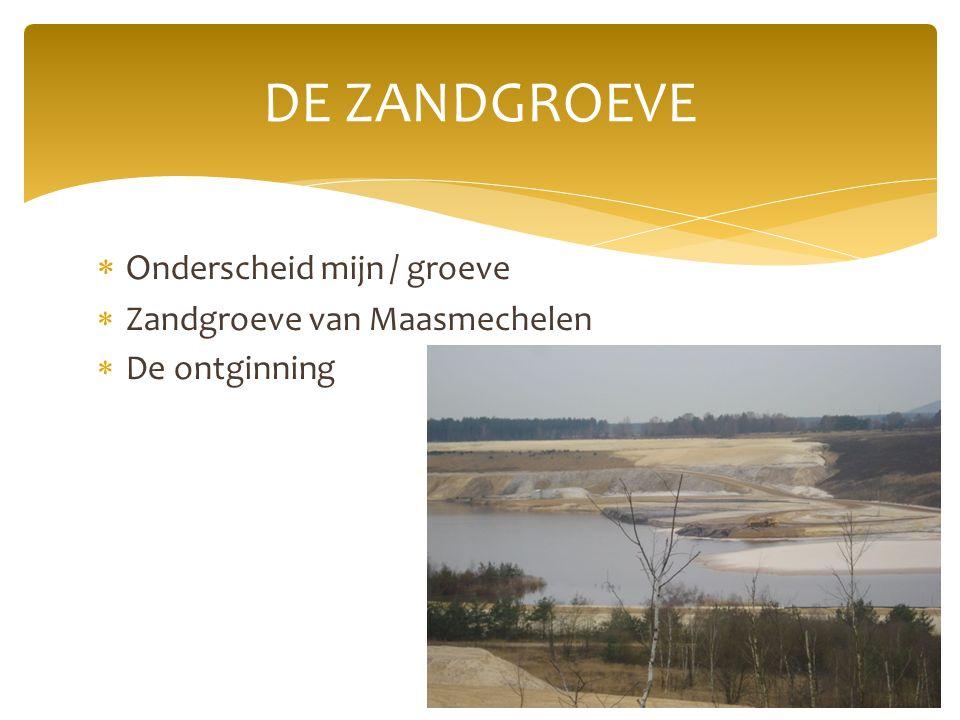  O nderscheid mijn / groeve  Zandgroeve van Maasmechelen  De ontginning DE ZANDGROEVE