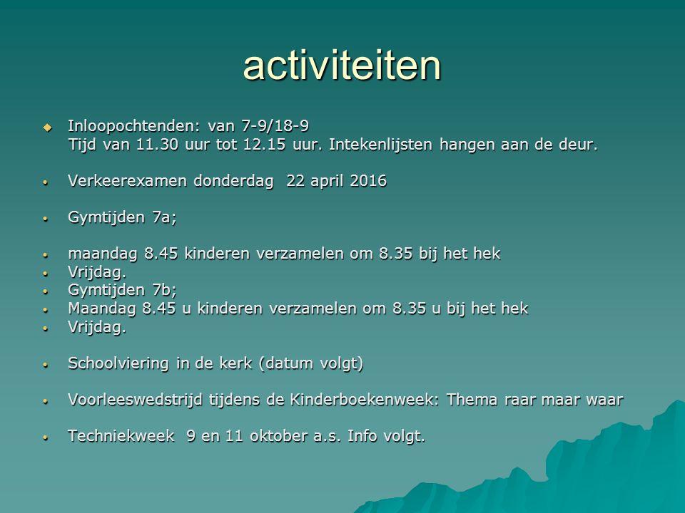 activiteiten  Inloopochtenden: van 7-9/18-9 Tijd van 11.30 uur tot 12.15 uur.
