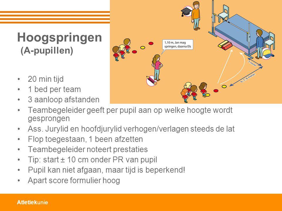 Hoogspringen (A-pupillen) 20 min tijd 1 bed per team 3 aanloop afstanden Teambegeleider geeft per pupil aan op welke hoogte wordt gesprongen Ass.