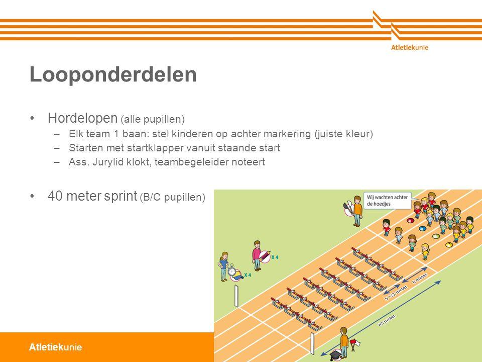 Atletiekunie Looponderdelen Hordelopen (alle pupillen) –Elk team 1 baan: stel kinderen op achter markering (juiste kleur) –Starten met startklapper vanuit staande start –Ass.