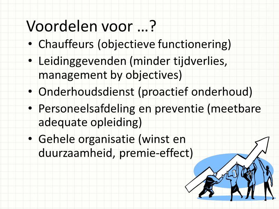 Voordelen voor …? Chauffeurs (objectieve functionering) Leidinggevenden (minder tijdverlies, management by objectives) Onderhoudsdienst (proactief ond