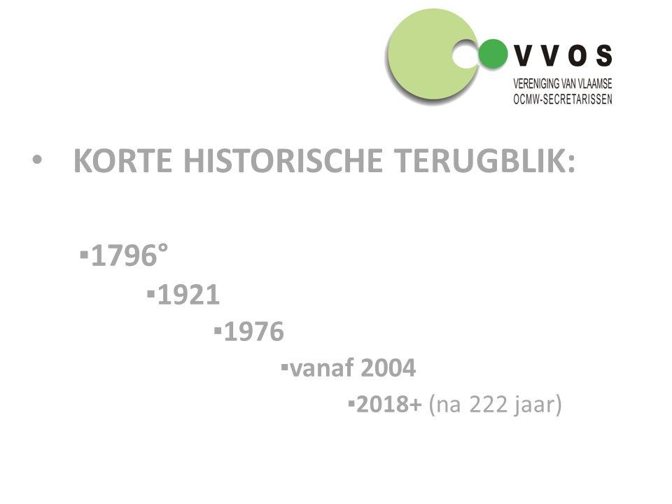 KORTE HISTORISCHE TERUGBLIK: ▪1796° ▪1921 ▪1976 ▪vanaf 2004 ▪2018+ (na 222 jaar)