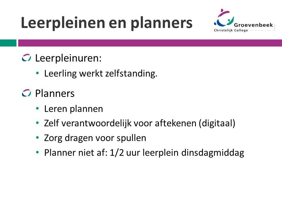 Leerpleinen en planners Leerpleinuren: Leerling werkt zelfstanding. Planners Leren plannen Zelf verantwoordelijk voor aftekenen (digitaal) Zorg dragen