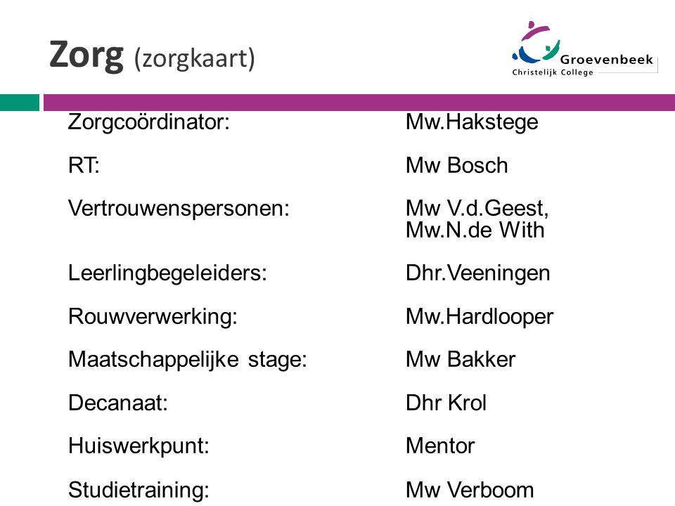 Zorg (zorgkaart) Zorgcoördinator: Mw.Hakstege RT: Mw Bosch Vertrouwenspersonen: Mw V.d.Geest, Mw.N.de With Leerlingbegeleiders: Dhr.Veeningen Rouwverw