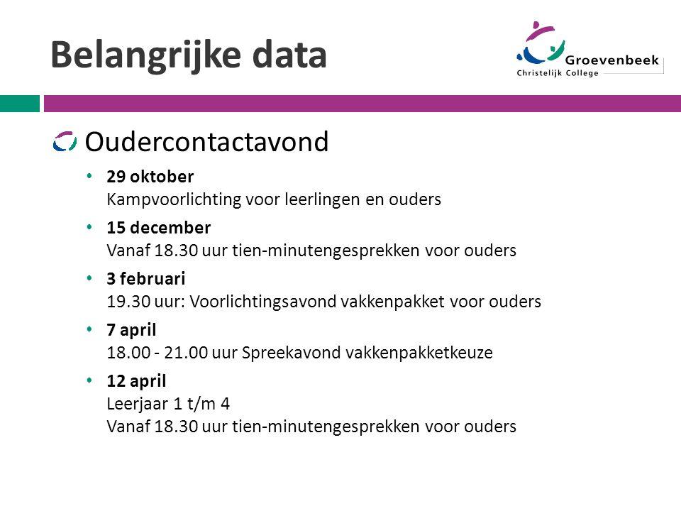 Belangrijke data Oudercontactavond 29 oktober Kampvoorlichting voor leerlingen en ouders 15 december Vanaf 18.30 uur tien-minutengesprekken voor ouder
