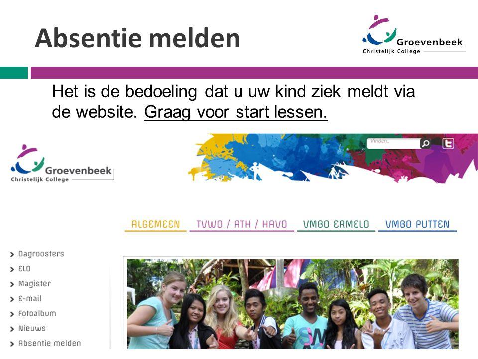 Absentie melden Het is de bedoeling dat u uw kind ziek meldt via de website. Graag voor start lessen.