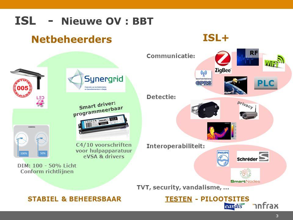 ISL - Nieuwe OV : BBT Netbeheerders ISL+ Communicatie: Detectie: Interoperabiliteit: TVT, security, vandalisme, … C4/10 voorschriften voor hulpapparatuur eVSA & drivers DIM: 100 - 50% Licht Conform richtlijnen Smart driver: programmeerbaar STABIEL & BEHEERSBAAR TESTEN - PILOOTSITES RF PLC privacy 3