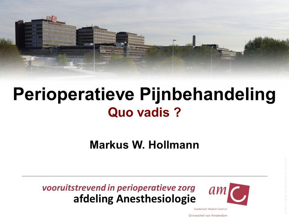vooruitstrevend in perioperatieve zorg afdeling Anesthesiologie © Peter Meijer Medical Services, juni 2011 Perioperatieve Pijnbehandeling Quo vadis ?