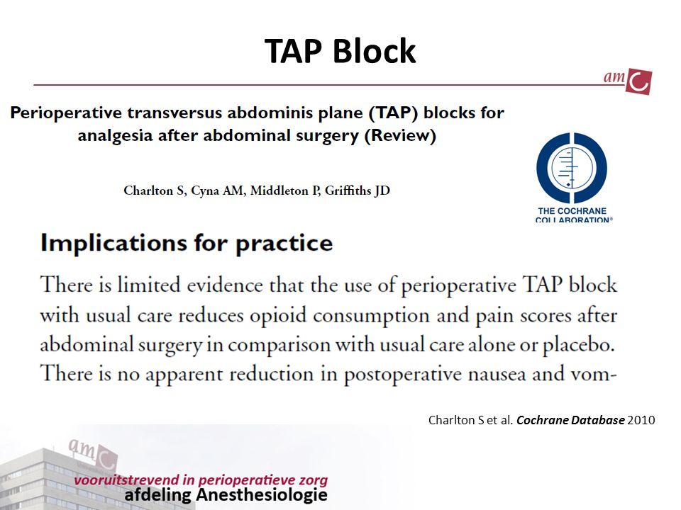TAP Block Charlton S et al. Cochrane Database 2010
