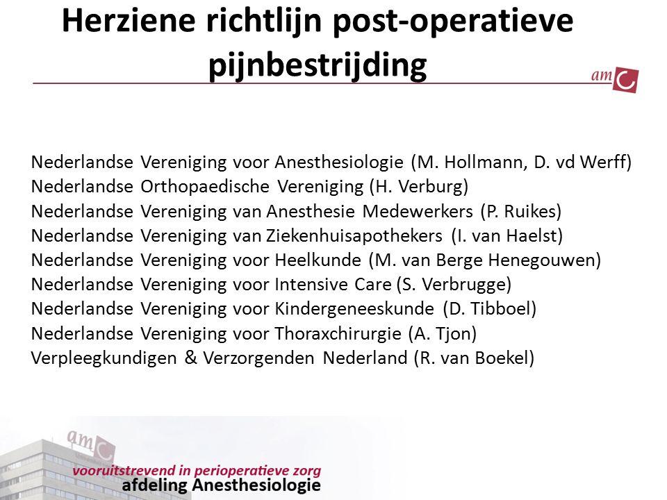 Herziene richtlijn post-operatieve pijnbestrijding Nederlandse Vereniging voor Anesthesiologie (M. Hollmann, D. vd Werff) Nederlandse Orthopaedische V