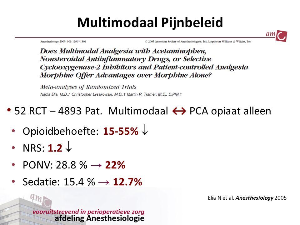 Opioidbehoefte: 15-55%  NRS: 1.2  PONV: 28.8 % → 22% Sedatie: 15.4 % → 12.7% 52 RCT – 4893 Pat. Multimodaal ↔ PCA opiaat alleen Multimodaal Pijnbele