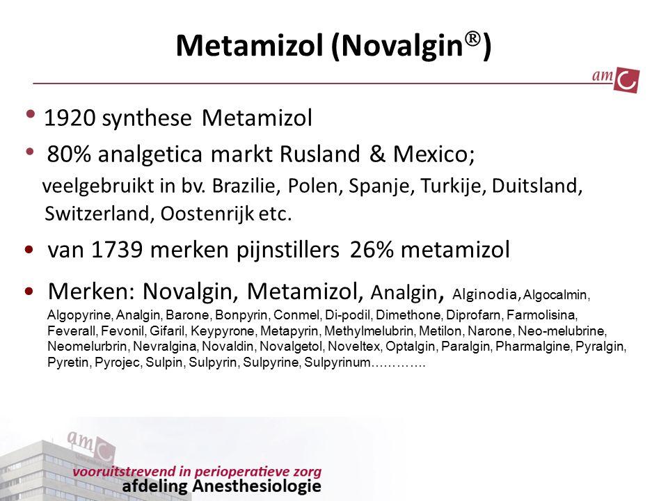 Metamizol (Novalgin  ) 1920 synthese Metamizol 80% analgetica markt Rusland & Mexico; veelgebruikt in bv. Brazilie, Polen, Spanje, Turkije, Duitsland